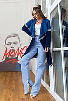 Вязаный кардиган с лампасами Fashion Week р. 44-50 джинс-синий