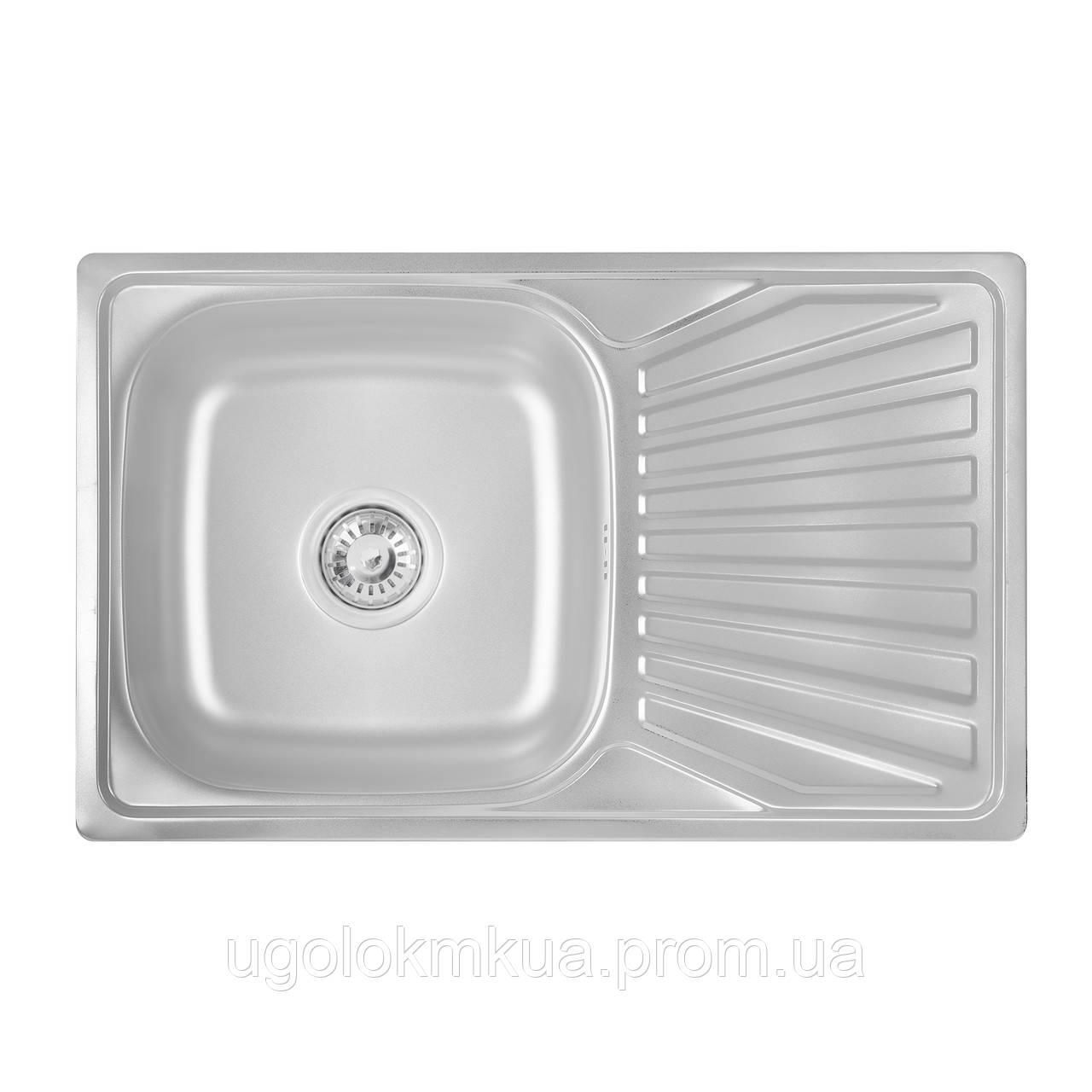 Кухонна мийка Lidz 7848 Satin 0,8 мм (LIDZ7848SAT)