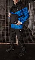 Костюм мужской The North Face Ветровка синяя-черная+Штаны черные+подарок Барсетка осенний / весенний электрик