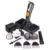 Беспроводная машинка для стрижки волос, бороды и усов с насадками, электробритва Kemei 7в1 аккумуляторная