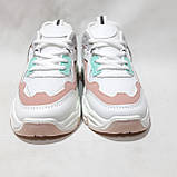 36,38,39,40 р. Женские кроссовки на толстой подошве весенние из эко-кожи и текстиля белые с пудрой, фото 3