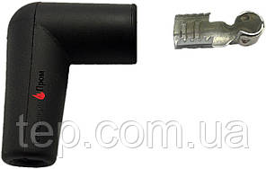 Клемма 6,3 мм кутова + в комплекті з кутовим гумовим ізолятором