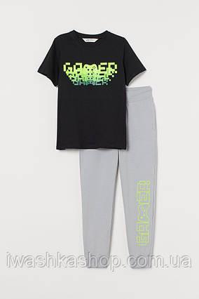 Стильный трикотажный костюм Gamer, футболка и штаны на мальчика 11-12 лет, р.152, H&M
