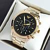 Мужские наручные часы Emporio Armani (армани) золотого цвета с черным циферблатом, метки - код 1945