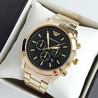 Мужские наручные часы Emporio Armani (армани) золотого цвета с черным циферблатом, метки - код 1945, фото 1