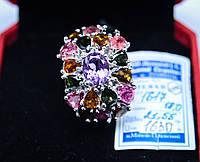 Оригинальный серебряный перстень усыпан камнями. 18 размер