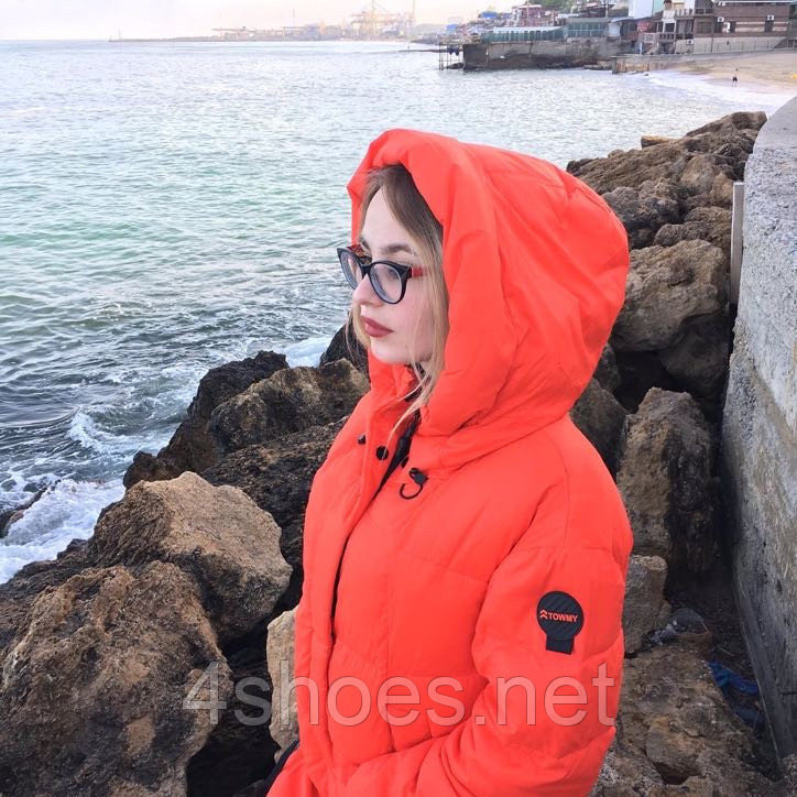 Яркий длинный пуховик TOWMY TM-AJ-3262-oranje