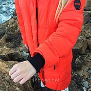 Яркий длинный пуховик TOWMY TM-AJ-3262-oranje, фото 2