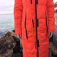 Яркий длинный пуховик TOWMY TM-AJ-3262-oranje, фото 5