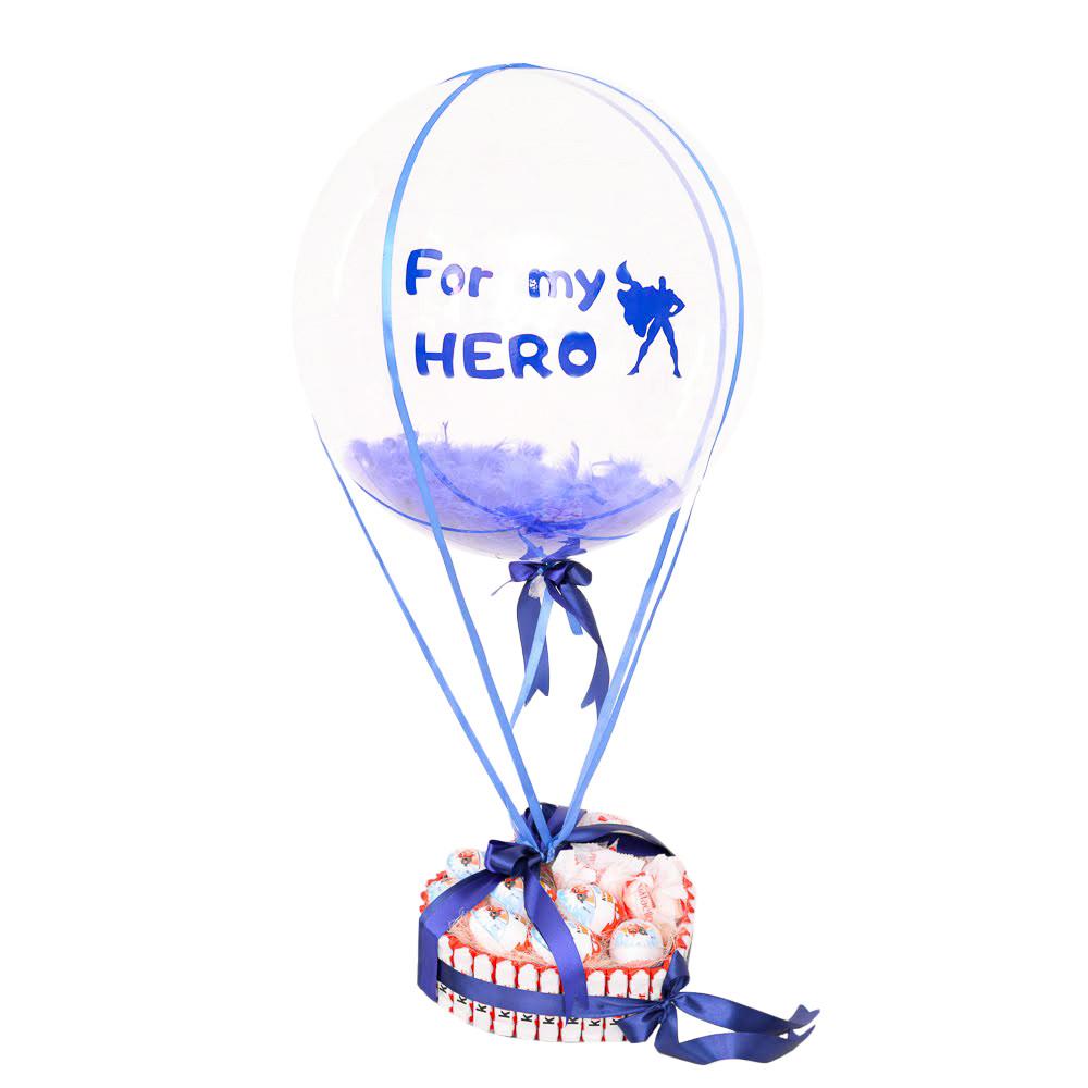 """Композиция из шар Bubble с синей надписью """"For my HERO"""" и сладким набором"""