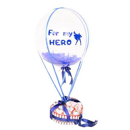 """Композиция из шар Bubble с синей надписью """"For my HERO"""" и сладким набором, фото 2"""