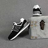 Жіночі кросівки демісезонні New Balance 574 весна осінь чорні. Живе фото. репліка, фото 3