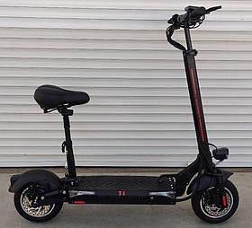 Електросамокат Crosser T4 з сидінням (мотор 1000W, акум 12.5 АН, колеса надувні 10, цілий спідометр) Black