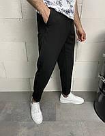 Черные брюки классические мужские широкие турецкие S, M, L, XL однотонные весна-осень легкие (чёрные)