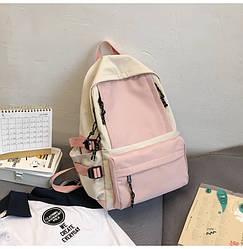 Рюкзак для девочки подростка школьный, водонепроницаемый розовый с серым Goghvinci.
