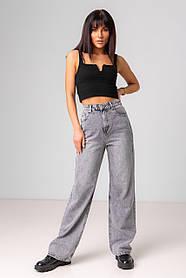 Серые джинсы-палаццо с высокой посадкой в размерах: S, M, L, XL.