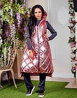 Женская стильная удлиненная дутая жилетка Батал, фото 1
