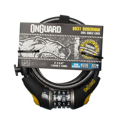 Велозамок кодовий Onguard 8031 DOBERMAN 185см х 12мм Чорний, фото 2