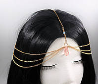 Тіара (прикраса) на голову Рожевий Кристал (Золото) №43