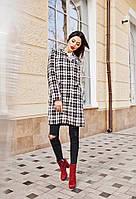 Женское стильное пальто в клетку на пуговицах, фото 1