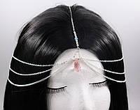 Тіара (прикраса) на голову рожевий Смарагд (Золото) №43