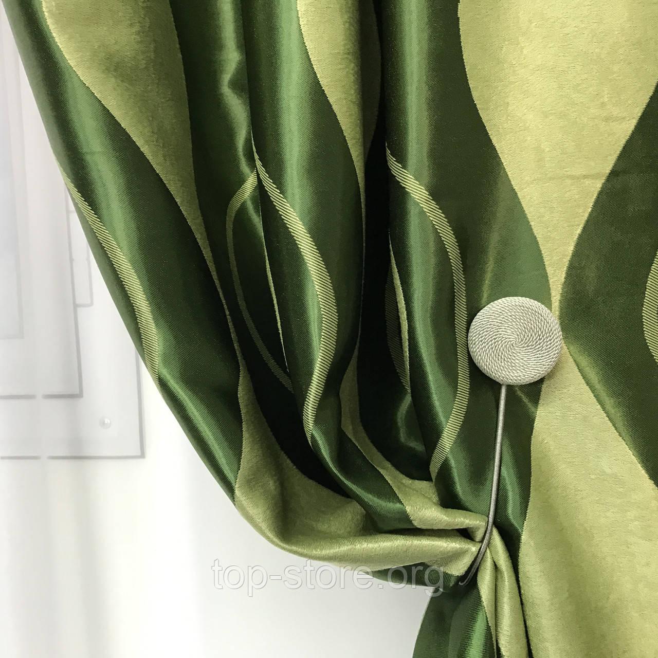 Готові штори на тасьмі Штори блекаут Штори на 150 270 Якісні штори Колір Зелений
