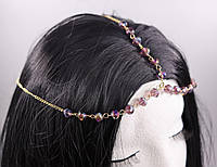 Богемна тіара (прикраса) на голову Червоні намистини (золото) №41, фото 1