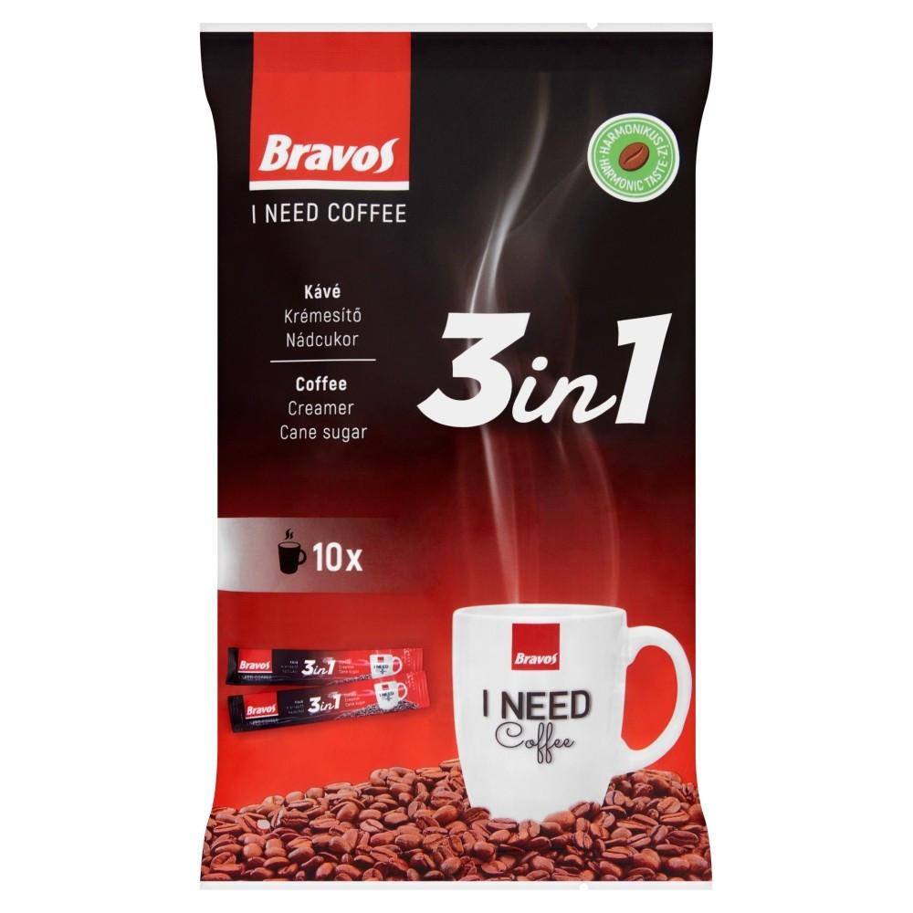 Розчинна кава в стіках Bravos 3 in 1 (10 шт х 17 г) 1 упак 170 гр