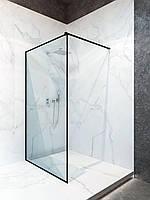 Душевая перегородка в черном профиле 100 * 200 см стеклянная шторка в душ 8 мм