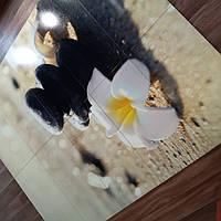 Панно на керамической фотоплитке - Белый цветок и Черные камни 2