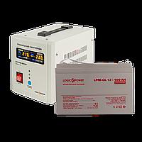 Комплект резервного питания для котла и теплого пола Logicpower 800 + гелевая батарея 1400ватт