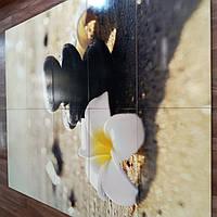 Панно на керамической фотоплитке - Белый цветок и Черные камни 3