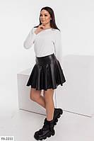 Кожаная короткая юбка женская расклешенная р-ры 38-44 арт. 0013