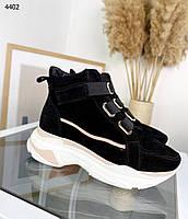 Женские замшевые демисезонные ботинки на низком ходу 36-40 р чёрный, фото 1