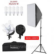 Набор постоянного  света Luxfoto 1 бокс 60*90, 1 голова на 5 ламп, 5 ламп*48 Ват, 1 стойка 2м