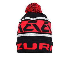 Шапка Azura черно-красная с помпоном 1