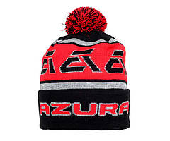 Шапка Azura черно-красная с помпоном 2