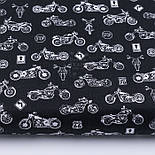 "Лоскут ткани ""Мотоциклы"" белые на чёрном фоне (№3143), размер 33*80 см, фото 2"
