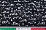 "Лоскут ткани ""Мотоциклы"" белые на чёрном фоне (№3143), размер 33*80 см, фото 3"