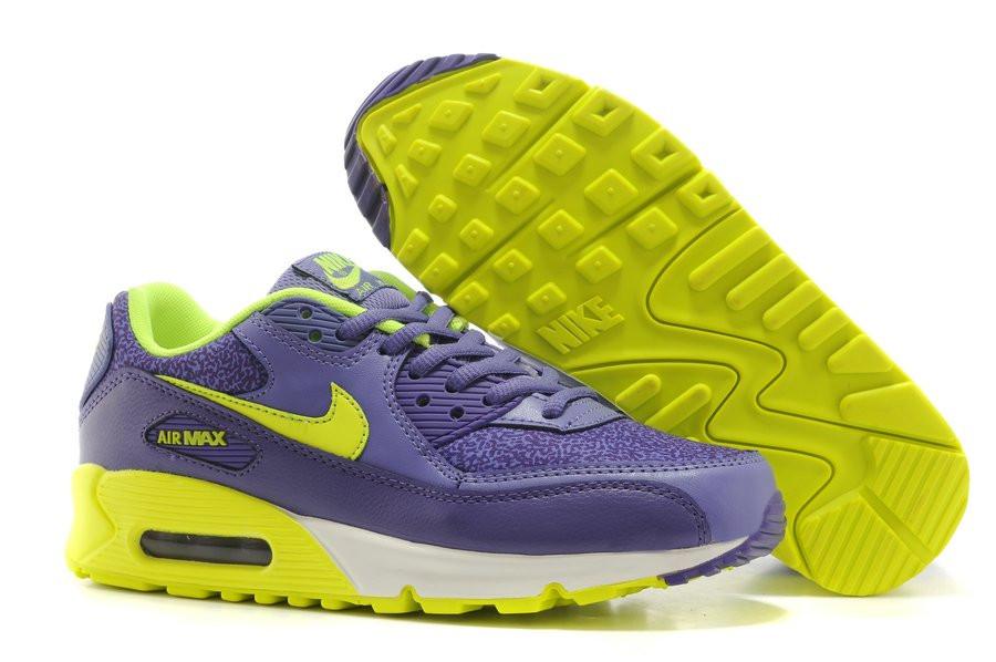 fa5a7228047e Женские кроссовки Nike Air Max 90 Premium violet-yellow - Интернет магазин  обуви Shoes-