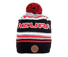 Шапка Azura черно-серая с помпоном