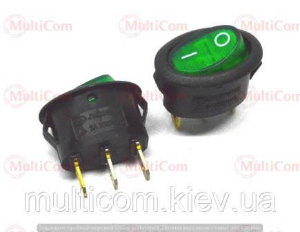 11-02-053GN. Переключатель с овальной клавишей (ON-OFF), 3pin, 6A-250V, с подсветкой, зеленый