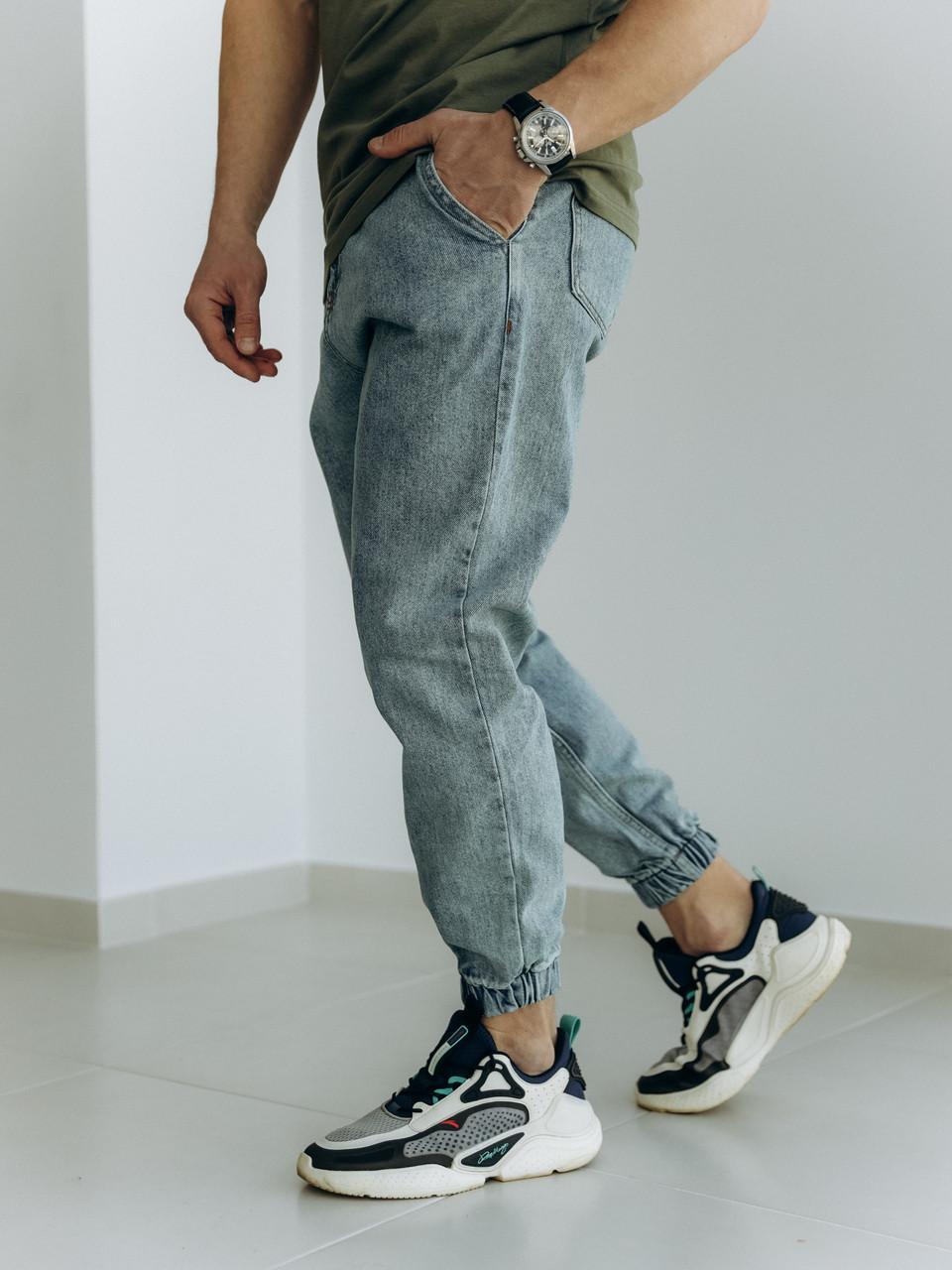 Чоловічі джинси-джогери світло-сині