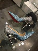 Туфли-лодочки серебро серый с голубым градиент