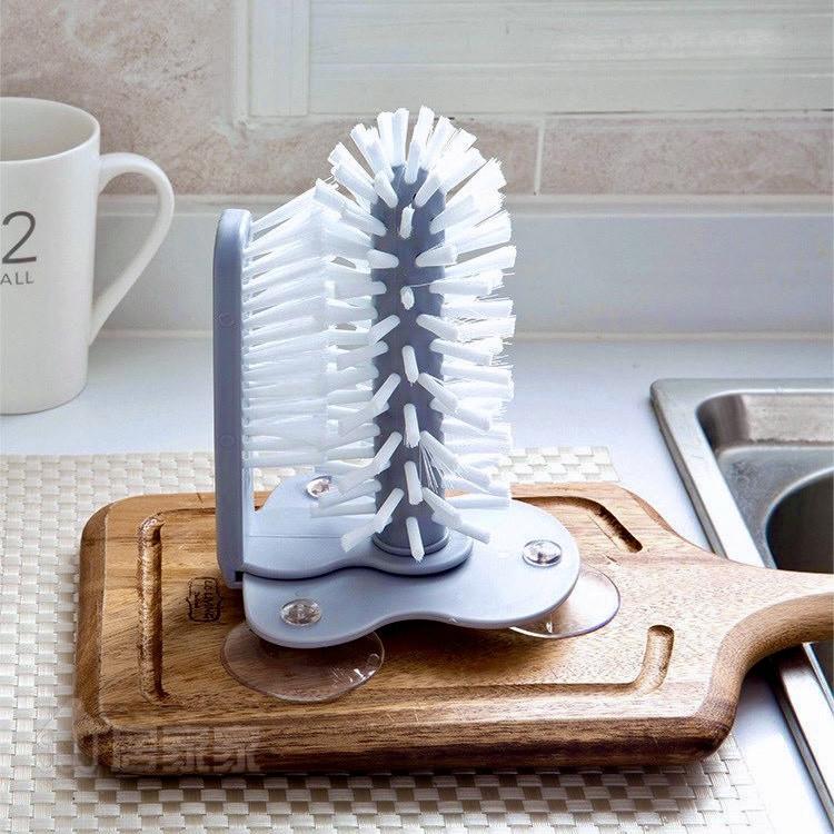 Комплект щіток для миття склянок і пляшок MultiFunction Suction Cup Brush |Йоржик для миття Lesko на присоску