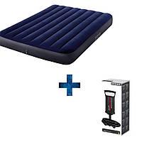 Матрас надувной Надувные матрасы для сна двухместный Intex 183х203 Матрас-кровать с насосом