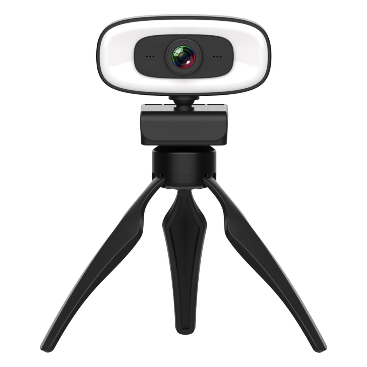 Веб-камера 4K Full HD (3840x2160)  вебкамера с подсветкой (3 режима) микрофоном для ПК компьютера ноутбука UTM