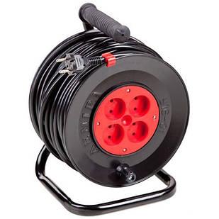 Подовжувач електричний на котушці У16-01 ПВС 2х1,5 20 м 4 розетки Леміра переноска