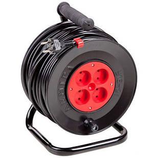 Подовжувач електричний на котушці У16-01 ПВС 2х1,5 25 м 4 розетки Леміра переноска