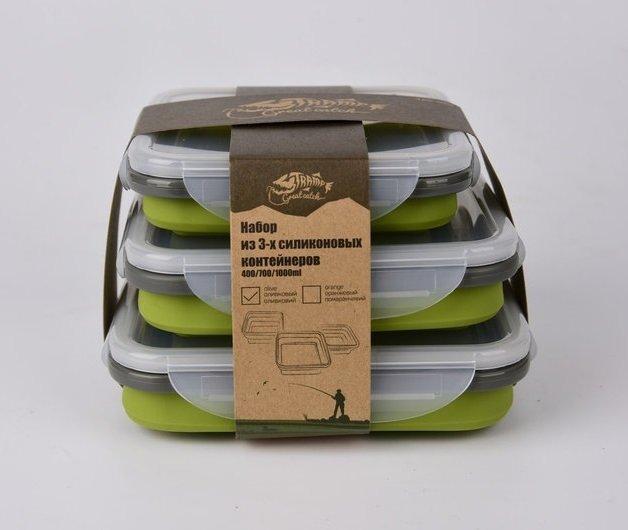 Набір з 3х силіконових контейнерів Tramp (400/700/1000ml) olive